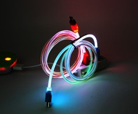 1 meter  Hose LED Light Micro USB Charger Data Sync Cable for  Samsung Galaxy S2 S3 S4 HTC LG(green)