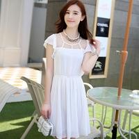 Medium-long dress female  mid waist pleated chiffon dress