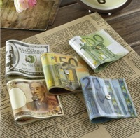 Drop shipping Creative Money Door Stopper Dollar / Japanese Yen / Euro Bill Money Doorstop 2pcs/lot random design