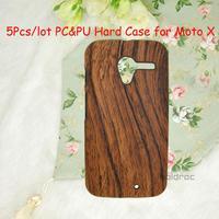5 Pcs/lot Wholesale Hard PC+ Wood Grain Pattern PU Back Phone Case for Motorola Moto X XT1058 Phone Case Free/Drop Shipping