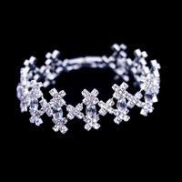 New Fashion Jewelry,Rhinestone Crystal Bracelet,Silver Plated Hand Chain,European Style Round Hand Chain, Cross  Bracelet BG-38