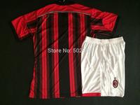 best quality 2014/15 AC Milan home soccer jersey & shorts uniform set, ac milano football shirt equipment kit 14 15
