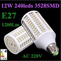 Wholesale 150pcs E27 12W 1200Lm 3528SMD 240 LED Corn light Bulb AC 220V Energy saving Cold/Warm white Home Garden Free Shipping