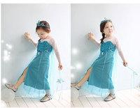 Hot selling New 2014 frozen girl dress, long sleeve summer dress girls, Wu Children Clothing Free Shipping