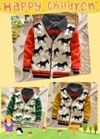 Retail 2-5Y 3cols children sweater New Autumn/Winter handsome horse pattern baby sweater woolen knitted warm baby&kids cardigan