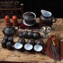 Hot 24pcs yixing tea tools KUNG FU TEA SETS PU ER TEA SETS purple grit tea