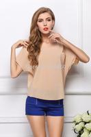 2014 Short-sleeved t-shirt loose chiffon blouses bat shirt perspective pullover shirt big size