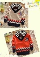 Retail 2-5Y 2cols boys sweater New Spring/Autumn handsome zigzag striped children sweater woolen knitted warm baby&kids cardigan