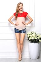 HOT sale Summer Stitching color chiffon blouses Loose big size t-shirts short sleeve chiffon shirts