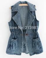 2014 Autumn new arrival women sleeveless casual denim vest turn down collar medium-long fashion vest women free shipping