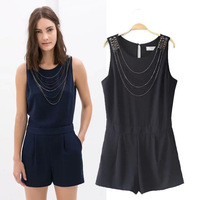 Hot Selling European Style Womens Slim Fit Sleeveless Jumpsuit/Ladies Trendy Short Style Overall For Summer