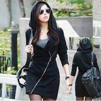Women's Oblique Zipper Slim Hoodies & Sweatshirts Europe Fashion 2014 New Women Hoodies Coat Warm Outerwear Free Shipping