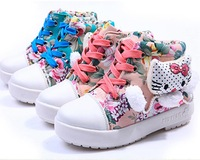 Size 15.7~20.7 CM Hot Spring Autumn Children Kids Girl Princess Casual Breathe Printing Rubber Running Boot Shoes Sneakers