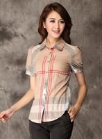 High quality 2014 New Women summer spring Fashion Brand Blouses Womens short  puff Sleeve Plaid Burb Shirts  england style