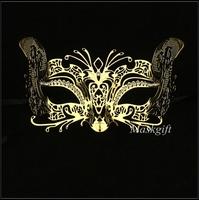 Free Shipping Wholesale Gold Cat Halloween Metal Mask ME002-GD Masquerde Laser Cut Metal Gold Masks