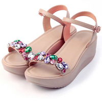 2014 spring and summer shoes leather soled casual bohemian diamond slope with high-heeled sandals shoes shook