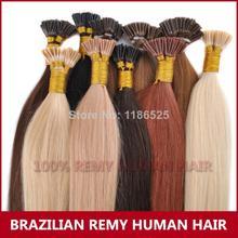 "100s Brazilan Remi Humun Hair Extensions Keratin Hair Stick I Tip Hair Soft Silky Straight 50g,18"",20"",22"" Free Shipping(China (Mainland))"