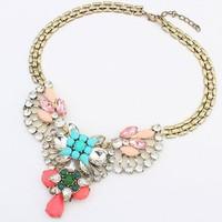 New Fashion Women Jewelry Wholesale Flower Statement BIB Necklaces & Pendants retro Necklace exaggerated personality  JN_B_0011