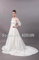 romantic bridal gowns 2014 hot sale Three Quarter sleeve lace wedding dress  custom made