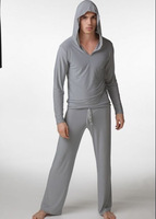 2014 Newest soft comfortable fashion milk silk pullover with hat mens pajama sets