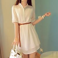 Summer 2014 women's plus size loose button shirt short-sleeve chiffon one-piece dress female summer