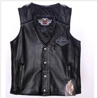 98132-08VM Genuine leather vest Men's Reflective Skull genuine leather vest