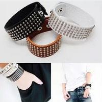 24Pcs/Lot Unisex Couple Models Wide Leather Rock Style Rivet Bracelet Free Shipping