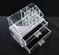 1 sets  Makeup Organizer Cosmetic Crystal Acrylic Case Display Box Jewelry Big Size