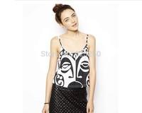 2014 Summer new arrival women White Black color geometric big EYE print tank,sexy camis top,girl's crop top