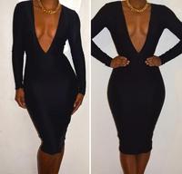 2014 New European Fashion Women black patchwork Vintage Bodycon Dress fish style spring Party Bandage Dress#31