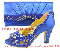 Fashion italian BLUE shoes and bags sets to match for african women Free Shipping,6 color in stock,size 38,39,40,41,42,43
