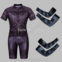 NEW SUPER HERO Black The Batman  Bicycle Cycling Kits Wear Jerseys Shorts Suit + Bib Pants +Oversleeve SIZE:M/L/XL/XXL
