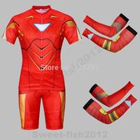 NEW SUPER HERO  Red  The Iron Man Bicycle Cycling Kits Wear Jerseys Shorts Suit + Bib Pants +Oversleeve SIZE:M/L/XL/XXL