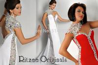 robe de soiree New Design HighNeckline Crystal One Shoulder Backless Long Mermaid Prom Dresses Vestidos Para Formatura 2014
