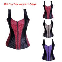 New arrival purple/red/gray lace boned lace up strap Corset Bustier zipper front corselet bodyshaper lingerie Size S,M,L,XL,2XL