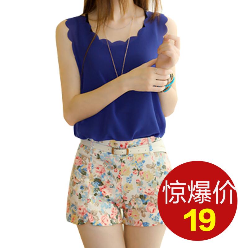 5 Colors 2014 Summer Stylish Shorts Woman Sweet Style cotton new fresh flora Elastic Waist Slim Short Pants Drop Shipping(China (Mainland))