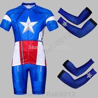 NEW SUPER HERO  Blue The Captain America Bicycle Cycling Kits Wear Jerseys Shorts Suit + Bib Pants +Oversleeve SIZE:M/L/XL/XXL