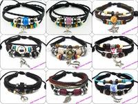 MIX009 promotion mix styles 6pcs/lot high quality fashion handmade adjustable leather bracelets antique charms vintage jewelry