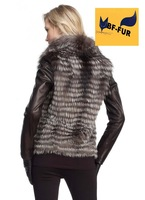2014 Women Genuine Natural Silver Fox Furs Waistcoat Overcoat Real Fox Furs Vest Coats Plus Size Wholesale EMS Free Shipping