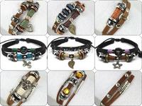 MIX013 promotion mix styles high quality lowest price fashion handmade leather jewelry bracelets unisex for women & men 6pcs/lot