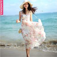 YT047,2014 New Fashion  High Quality Summer Floral Sexy Chiffon Bohemia Beach Dress Maxi Dress Free Shipping