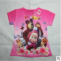 C01 Hot 2014 New Design Retail 100% Cotton cartoon T-shirt Martha and Bear Kids T-shirt free shipping