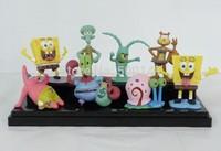 Free Shipping cartoon kid children SpongeBob his friends family figure set dolls toys gifts 8pcs/set Wholesale
