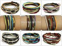 MIX012 promotional mix styles high quality fashionable handmade leather wrap bracelets jewelry unisex for men & women 6pcs/lot