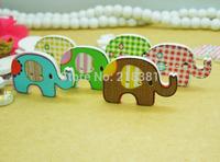 100pcs/lot 29*19mm Lovely Elephant Animal Sewing Buttons Random Mixed Cute flatback Decoration Cartoon Wooden buttons