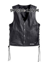 97030-11VM Genuine leather vestLuminous Genuine leather motorcycle vest vest Phikan shoulder