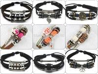MIX014 newly arrivals mix styles high quality fashion handmade leather jewelry vintage bracelets unisex for women & men 6pcs/lot