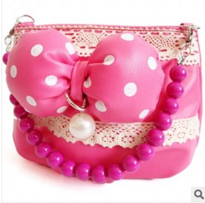50pcs/lot free shipping Cute Bowknot girl's princess bag pu Clutch Children Handbag Kids messenger Bag bead handle 2 Colors(China (Mainland))