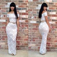 Sexy new summer white lace long dress 2014 women clothing off shoulder long sleeve bodycon Dresses black roupas femininas