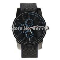 Stylish Miler Letter Display & Rubber Watchband Quartz Watch - Black